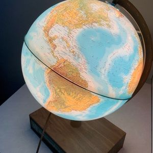 80s Vintage Light Up Globe on Shelf Stand w Book